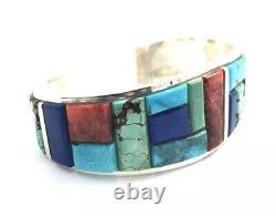Native American Sterling Silver Corn Cut Multicolored Stone Cuff Bracelet