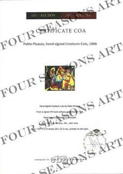Pablo Picasso, Signed 1966 Linoleum Cut (colorful figures). Hand Signed with COA
