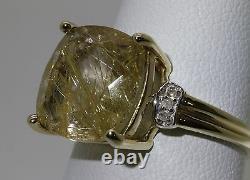 Rutilated Yellow Quartz & Diamond 10k YG Gold Ring NH Signed 6.5 Cushion Cut