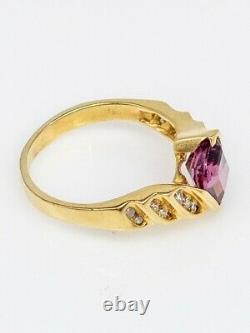 Signed $3000 2ct Fancy Cut Pink Tourmaline Diamond 18k Yellow Gold Ring Band 6g