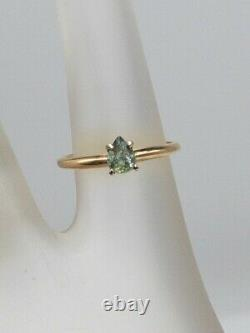 Signed $3000.50ct Natural Pear Cut Alexandrite 14k Yellow Gold Wedding Ring