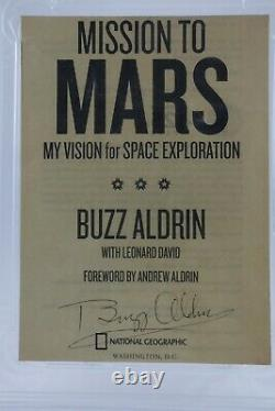 Signed Buzz Aldrin PSA Authentic Auto on Mission to Mars Cut from Book Slab/Case