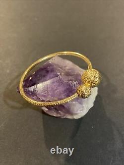 Signed GS 14K Yellow Gold Diamond Cut Ball End Flexible Cuff Bangle Bracelet
