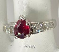 Signed JB Star $14,000 2.50ct GIA Pear Cut RUBY Diamond Platinum Wedding Ring