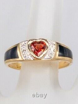Signed KABANA $2000 2ct Heart Cut GARNET Onyx Diamond 14k Yellow Gold Ring