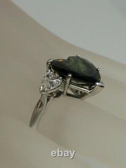 Signed PP $25,000 14ct Natural HEART CUT Green Sapphire Diamond Platinum Ring