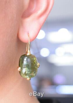Signed Pomellato Cabochon Cut Peridot Earrings Made In 18k Yellow Gold, 20.60g