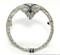 Signed Stern Old Cut Diamond Platinum Filigree Pin Awesome 1930s Brooch w GIA