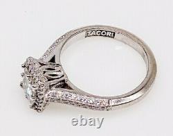 Signed Tacori $9000 1.45ct VS2 H Princess Cut Diamond 18k White Gold HALO Ring