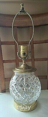Signed Waterford Crystal Diamond CUT ELECTRIC TABLE LAMP Brass 19