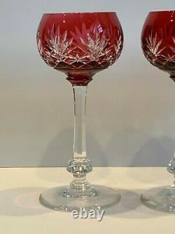St Louis Crystal France Massenet Cranberry Cut Hock Wine Glasses Set of 3