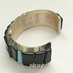 Sterling Silver Navajo Handmade Inlay Black Onyx & Opal Corn Cut Cuff Bracelet
