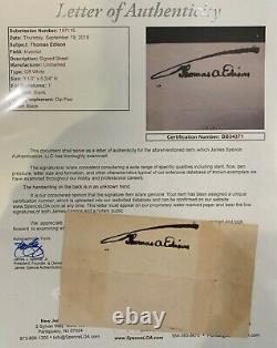 THOMAS A. EDISON INCREDIBLY BOLD 4 x 5 Signed Cut JSA LOA