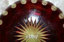 TS Victorian Marked Moser Oxblood to Vaseline / Uranium Cut Glass Bowl