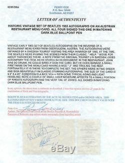 The Beatles (Harrison, Lennon, McCartney & Starr) Signed 4.5x6.5 Cut PSA Slabbed