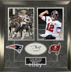 Tom Brady Signed Autographed Cut Custom Framed to 16x20 Super Bowl Pats Bucs JSA