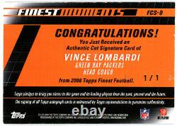 Vince Lombardi Autographed Signed 2008 Topps Finest Card Cut Sig Packers 1/1