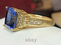 Vintage 14k Gold Blue Sapphire Diamond Ring Emerald Cut Signed Wco Engagement