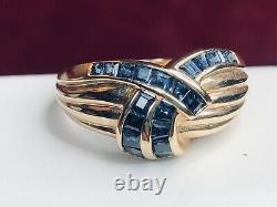 Vintage 14k Gold Natural Blue Sapphire Ring Band Signed Esx Princess Cut Ribbon