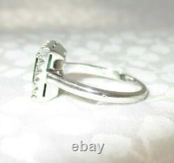 Vtg 18k White Gold Jabel Emerald Cut Diamond Surround Halo Ring Signed Sz 6
