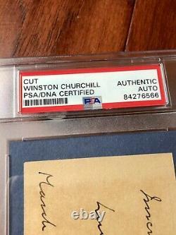 WINSTON S. CHURCHILL PSA/DNA Slab Autograph Inscribed Cut Card Signed