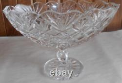 Waterford Crystal Irish Treasures 10.5 Diamond Cut Footed Oval Boat Bowl Signed