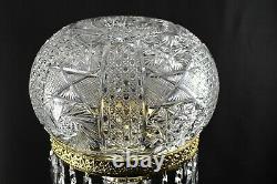 Yasmin Brilliant Cut Glass Lamp Mushroom Shade WithPrisms 28 Tall Signed